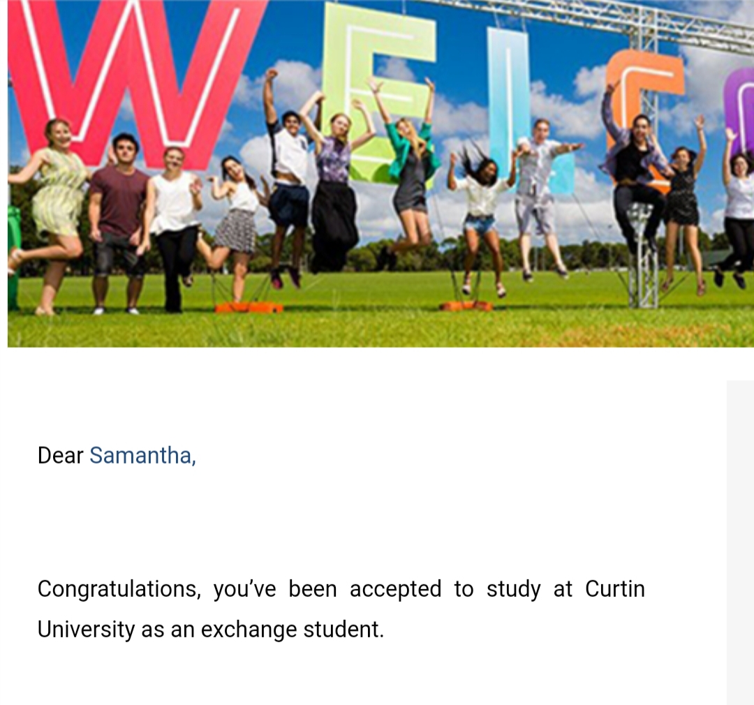 Accepted to study at Curtin University